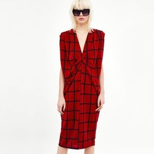 New Zara red black checkered dress S